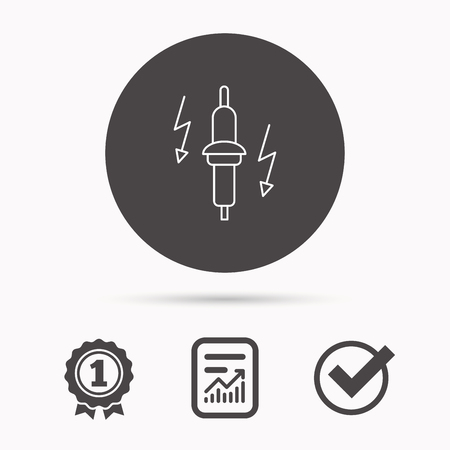 electric spark: Spark plug icon. Car electric part sign. Report document, winner award and tick. Round circle button with icon. Vector Illustration