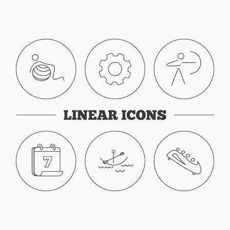 boating: Gymnastics, boating and archery icons. Bobsled linear sign. Flat cogwheel and calendar symbols. Linear icons in circle buttons. Vector Illustration