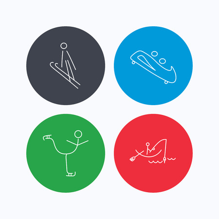 bobsled: Fishing, figure skating and bobsled icons. Ski jumping linear sign. Linear icons on colored buttons. Flat web symbols. Vector
