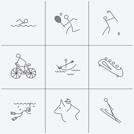bobsleigh: Swimming, tennis and golf icons. Biking, diving and horseback riding linear signs. Ski jumping, boating and bobsleigh icons. Linear icons on white background. Vector Illustration