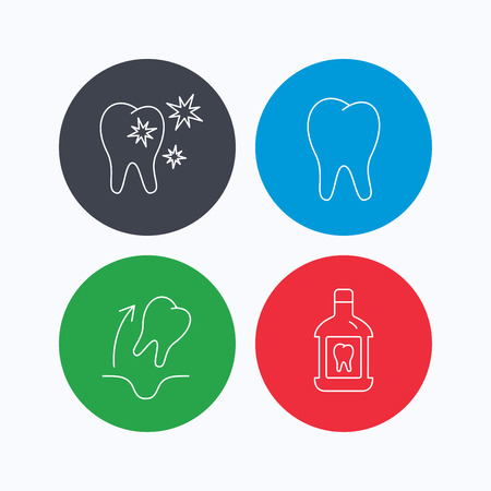 Tooth, mouthwash and healthy teeth icons. Tooth extraction linear sign. Linear icons on colored buttons. Flat web symbols. Vector