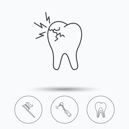 tubules: Toothache, drilling tool and toothbrush icons. Dentinal tubules linear sign. Linear icons in circle buttons. Flat web symbols. Vector