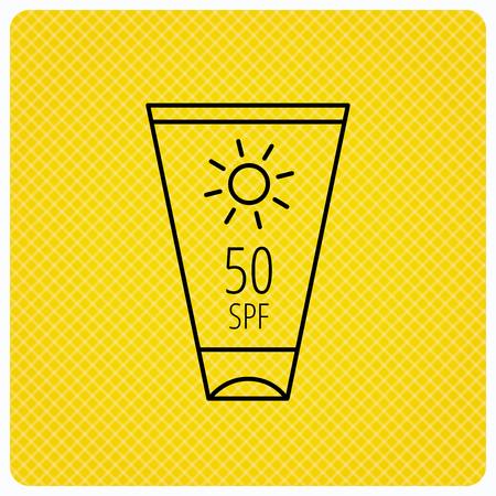 sun cream: Sun cream container icon. Beach lotion sign. Linear icon on orange background. Vector Illustration
