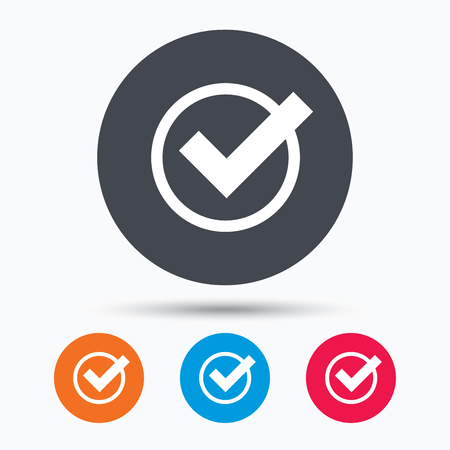 confirm: Tick icon. Check or confirm symbol. Colored circle buttons with flat web icon. Vector Illustration