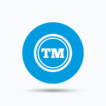 intellectual: Registered TM trademark icon. Intellectual work protection symbol. Blue circle button with flat web icon. Vector