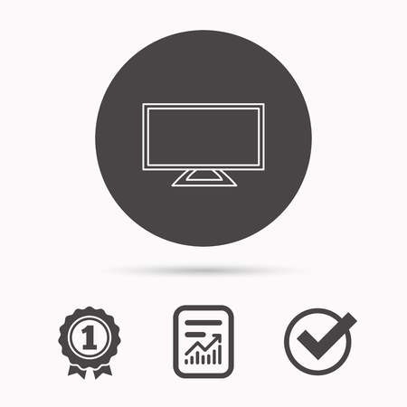 led display: Lcd tv icon. Led monitor sign. Widescreen display symbol. Report document, winner award and tick. Round circle button with icon. Vector
