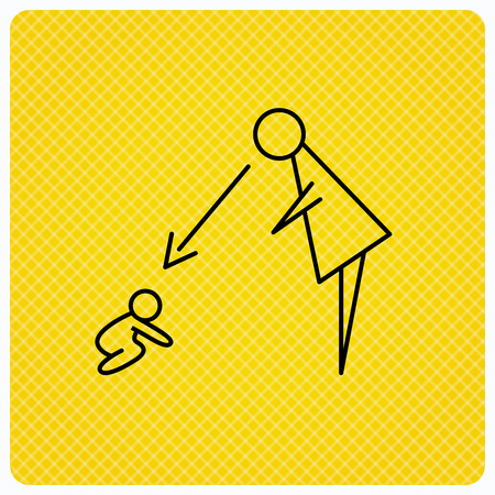 supervision: Under nanny supervision icon. Babysitting care sign. Mother watching baby symbol. Linear icon on orange background. Vector