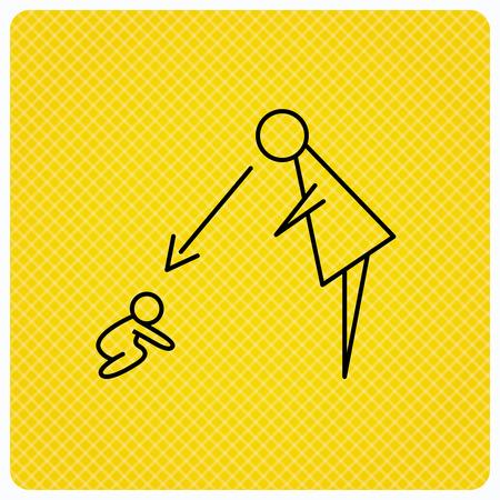 babysitting: Under nanny supervision icon. Babysitting care sign. Mother watching baby symbol. Linear icon on orange background. Vector