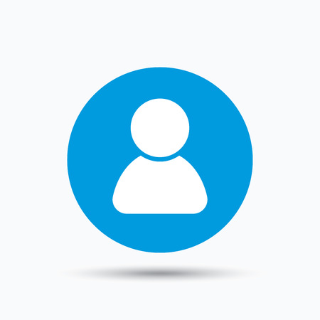 User icon. Human person symbol. Avatar login sign. Blue circle button with flat web icon. Vector