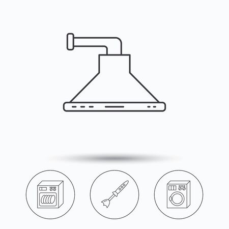 dishwasher: Dishwasher, washing machine and blender icons. Kitchen hood linear sign. Linear icons in circle buttons. Flat web symbols. Vector