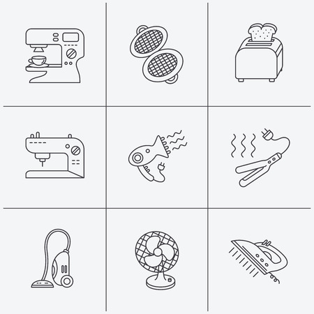 ironing: Coffee maker, sewing machine and toaster icons. Ventilator, vacuum cleaner linear signs. Hair dryer, steam ironing and waffle-iron icons. Linear icons on white background. Vector