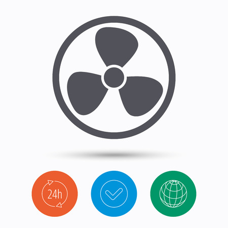 turbine engine: Ventilation icon. Air ventilator or fan symbol. Check tick, 24 hours service and internet globe. Linear icons on white background. Vector Illustration