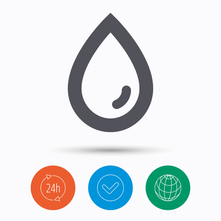 Water drop icon. Natural aqua symbol. Check tick, 24 hours service and internet globe. Linear icons on white background. Vector Illustration