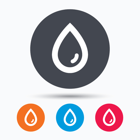 humid: Water drop icon. Natural aqua symbol. Colored circle buttons with flat web icon. Vector Illustration