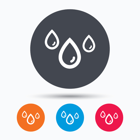 humid: Water drop icon. Rainy weather symbol. Colored circle buttons with flat web icon. Vector