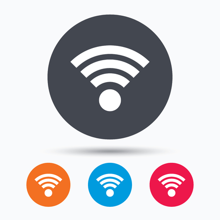 wireless communication: Wifi icon. Wireless internet sign. Communication technology symbol. Colored circle buttons with flat web icon. Vector
