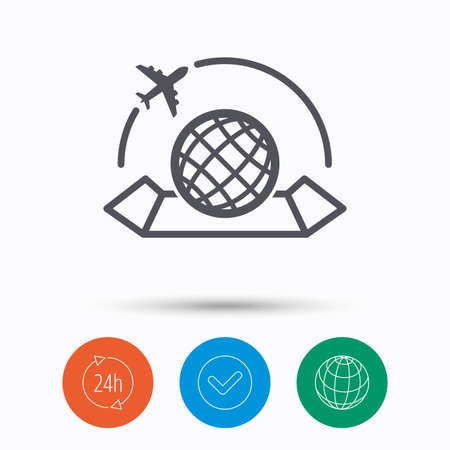 World map icon. Globe with airplane sign. Plane travel symbol. Check tick, 24 hours service and internet globe. Linear icons on white background. Vector