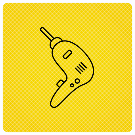 tinkering: Drill tool icon. Electric jack-hammer sign. Linear icon on orange background. Vector