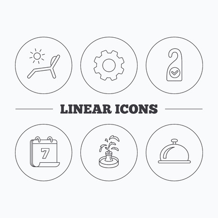 5 door: Reception bell, fountain and beach deck chair icons. Clean room linear sign. Flat cogwheel and calendar symbols. Linear icons in circle buttons. Vector Illustration