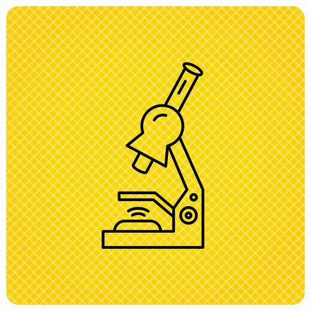 criminology: Microscope icon. Medical laboratory equipment sign. Pathology or scientific symbol. Linear icon on orange background. Vector