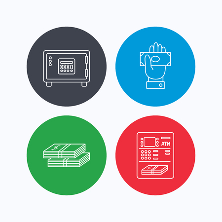 give money: Give money, cash money and ATM icons. Safe box linear sign. Linear icons on colored buttons. Flat web symbols. Vector