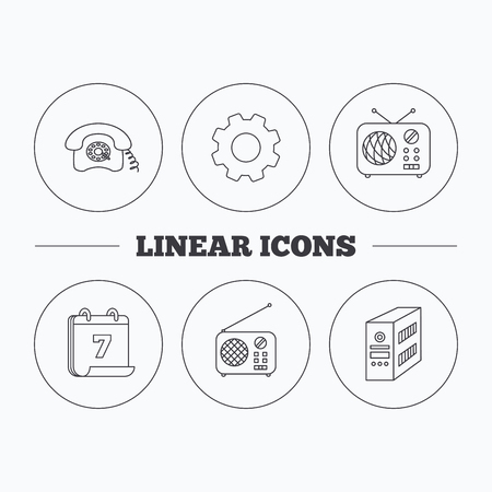 pc case: Radio, retro phone and pc case icons. Vintage radio linear sign. Flat cogwheel and calendar symbols. Linear icons in circle buttons. Vector