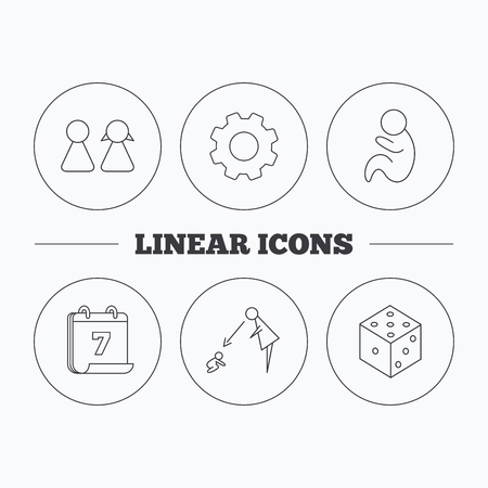 supervision: Pareja, pediatría y los iconos de los dados. Bajo el signo de la supervisión lineal. la rueda dentada y de calendario símbolos planas. iconos lineales en los botones del círculo. Vector
