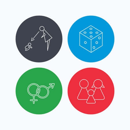 supervision: Male, female, dice and family icons. Under supervision linear sign. Linear icons on colored buttons. Flat web symbols. Vector