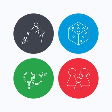 supervisión: Masculina, femenina, dados y iconos de la familia. Bajo el signo de la supervisión lineal. iconos lineales en los botones de colores. símbolos web planas. Vector Vectores