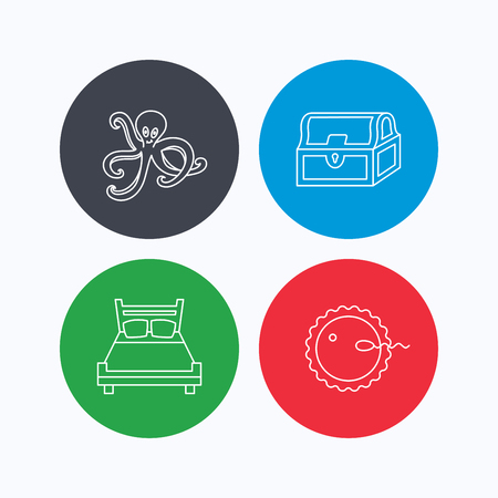 toy chest: Fertilization, double bed and octopus icons. Treasure chest linear signs. Linear icons on colored buttons. Flat web symbols. Vector