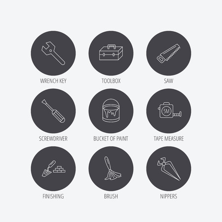 nippers: Wrench key, screwdriver and paint brush icons. Toolbox, nippers and saw linear signs. Finishing spatula icon. Linear icons in circle buttons. Flat web symbols. Vector