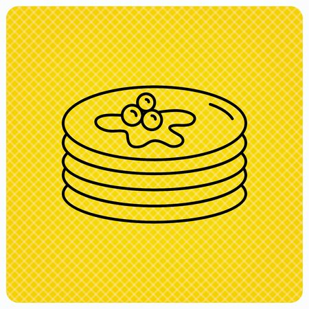 syrup: Pancakes icon. American breakfast sign. Food with maple syrup symbol. Linear icon on orange background. Vector