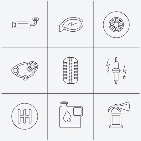 muffler: Wheel, car mirror and timing belt icons. Fire extinguisher, jerrycan and manual gearbox linear signs. Muffler, spark plug icons. Linear icons on white background. Vector