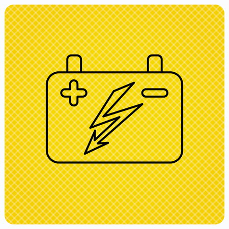 emitter: Accumulator icon. Electrical battery sign. Linear icon on orange background. Vector Illustration