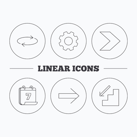 downstairs: Arrows icons. Downstairs and repeat linear signs. Next arrow flat line icons. Flat cogwheel and calendar symbols. Linear icons in circle buttons. Vector Illustration