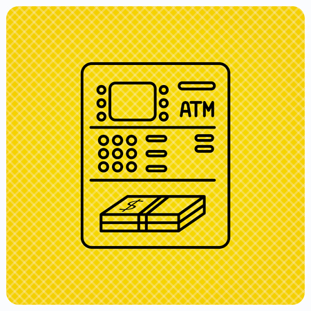 withdrawal: ATM icon. Automatic cash withdrawal sign. Linear icon on orange background. Vector Illustration