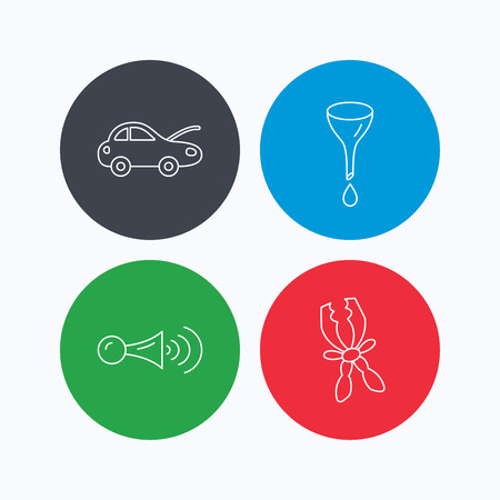 oil change: Car repair, oil change and signal icons. Klaxon signal, battery terminal linear signs. Linear icons on colored buttons. Flat web symbols. Vector