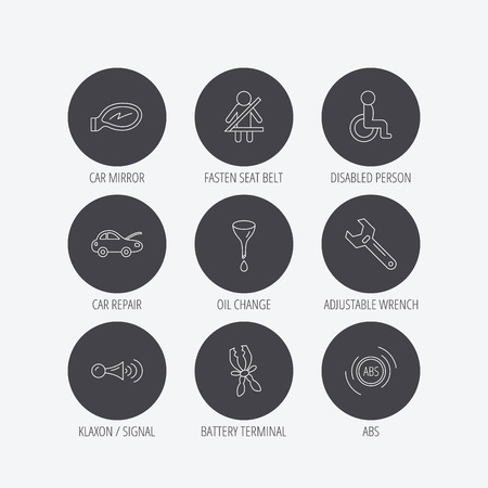 oil change: Car mirror repair, oil change and wrench tool icons. ABS, klaxon signal and fasten seat belt linear signs. Disabled person icons. Linear icons in circle buttons. Flat web symbols. Vector