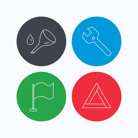 oil change: Flag pointer, emergency sign and wrench key icons. Emergency triangle, oil change linear signs. Linear icons on colored buttons. Flat web symbols. Vector