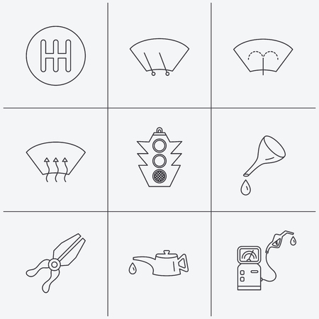 oil change: Motor oil change, traffic lights and pliers icons. Gas station, heated window and manual gearbox linear signs. Washing window icons. Linear icons on white background. Vector