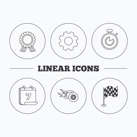 race winner: Race flag, winner medal and timer icons. Wheel on fire linear sign. Flat cogwheel and calendar symbols. Linear icons in circle buttons. Vector