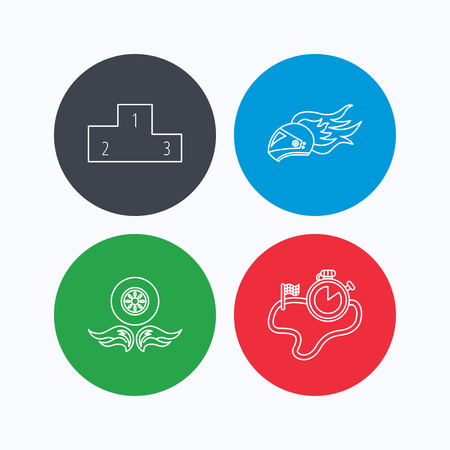 race winner: Winner podium, race timer and wheel on fire icons. Motorcycle helmet on fire linear sign. Linear icons on colored buttons. Flat web symbols. Vector