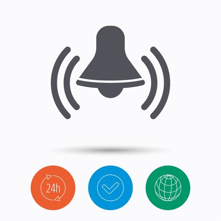 service bell: Bell icon. Reminder alarm signal symbol. Check tick, 24 hours service and internet globe. Linear icons on white background. Vector