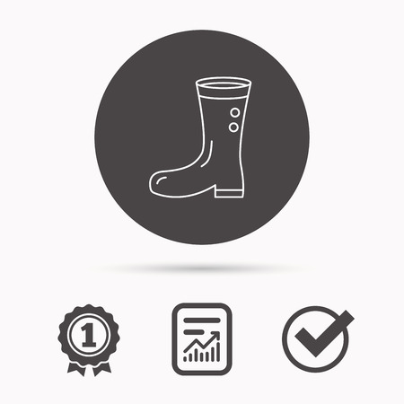 wellies: Boots icon. Garden rubber shoes sign. Waterproof wear symbol. Report document, winner award and tick. Round circle button with icon. Vector Illustration