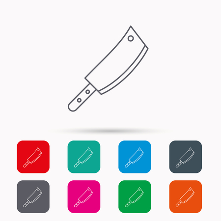 butcher knife: Butcher knife icon. Kitchen chef tool sign. Linear icons in squares on white background. Flat web symbols. Vector