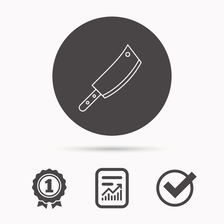 butcher knife: Butcher knife icon. Kitchen chef tool sign. Report document, winner award and tick. Round circle button with icon. Vector