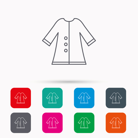 outerwear: Cloak icon. Protection jacket outerwear sign. Gardening clothes symbol. Linear icons in squares on white background. Flat web symbols. Vector