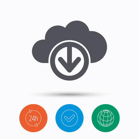 Download from cloud icon. Data storage technology symbol. Check tick, 24 hours service and internet globe. Linear icons on white background. Vector Illustration