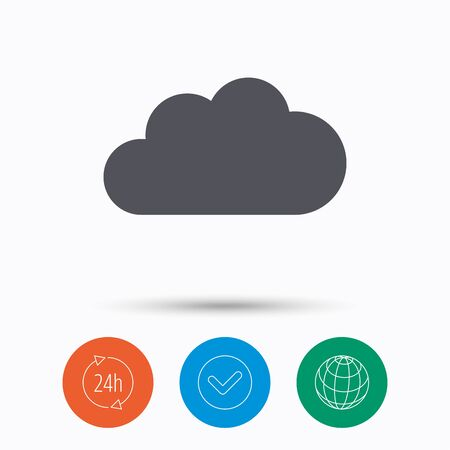 Cloud icon. Data storage technology symbol. Check tick, 24 hours service and internet globe. Linear icons on white background. Vector Illustration
