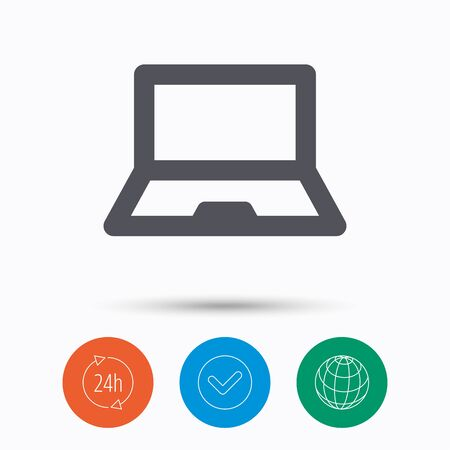 Computer icon. Notebook or laptop pc symbol. Check tick, 24 hours service and internet globe. Linear icons on white background. Vector